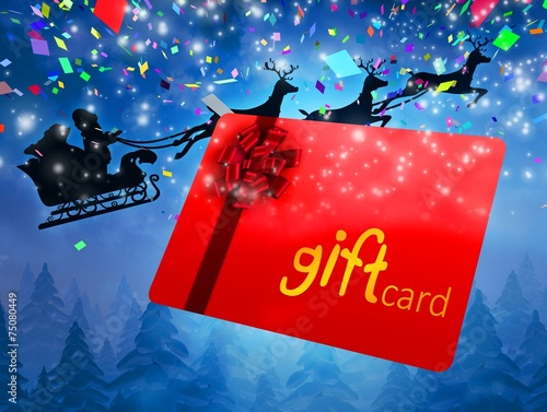 Poster Bordeaux Composite image of santa flying his sleigh behind gift card