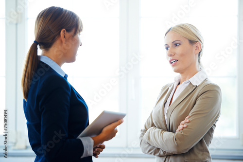 Two businesswoman discussing Poster