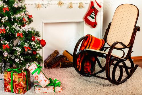 Foto op Canvas Vogels in kooien Christmas living room with star