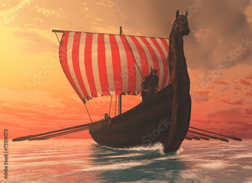 Fotografie, Obraz  Viking Man and Longship
