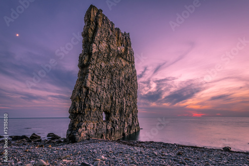 Poster Rose clair / pale Amazing Sunset near Sail Rock in Russia