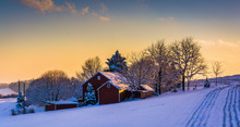 Winter View Of A Barn On A Sno...
