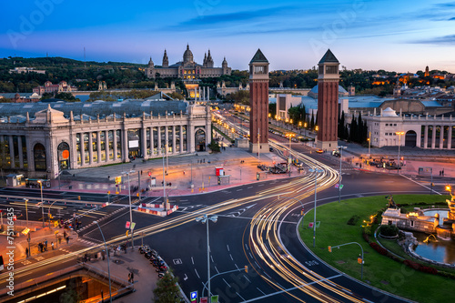 Foto op Canvas Barcelona Aerial View on Placa Espanya and Montjuic Hill with National Art