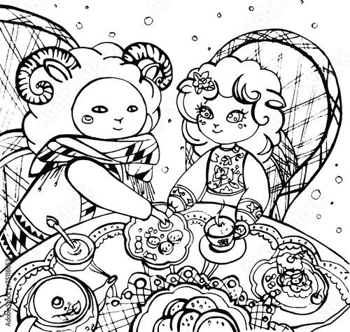Tuinposter Doe het zelf Lovers of lamb drinking tea with goodies, line drawing