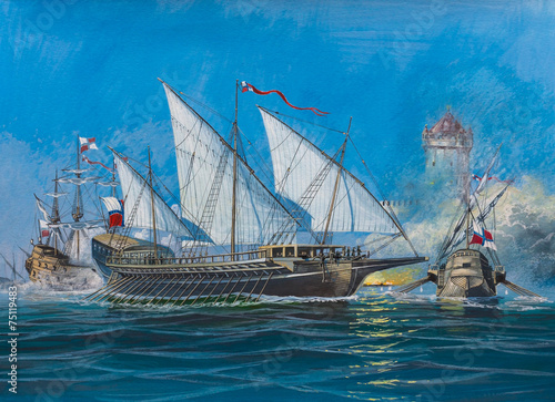 Fotografija  Battle of old sailing ships