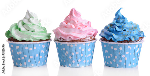 Delicious cupcakes isolated on white Wallpaper Mural