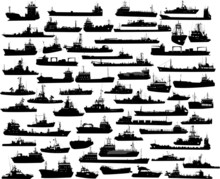 Vector Set Of 61 Silhouettes Of Sea Towboat And The Ships