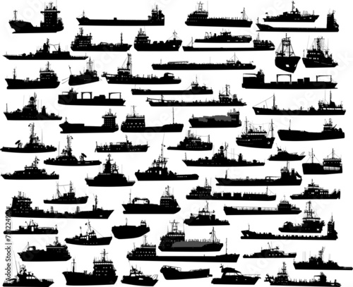 Vector set of 61 silhouettes of sea towboat and the ships Fototapeta