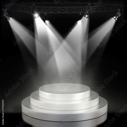 Foto op Canvas Licht, schaduw Illuminated empty stage podium for award ceremony