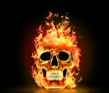 Skull With Fire. High Resolution