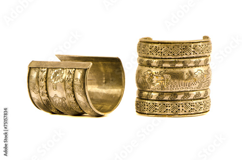 Fotomural two antique indian metal bracelet for woman isolated on white