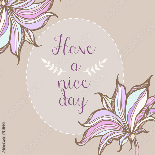 Photo  Have a nice day floral pastel frame poster design