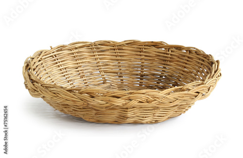 Fotografie, Obraz  Wicker basket isolated on white background