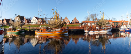 Stickers pour porte Europe du Nord Greetsiel, fishing boats.