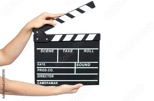 Obraz na płótnie Woman hand take clipboard on white background