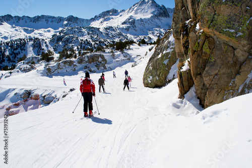 Photo People are skiing in Andorra
