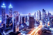 Dubai Downtown Night Scene