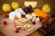 Delicious Cheese Platter With Grapes And Crackers