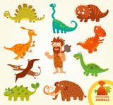 Fototapeta Dinusie - Set funny prehistoric animals. Cartoon character