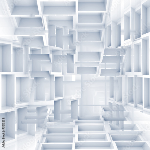 Abstract digital 3d background with chaotic white cubes © evannovostro