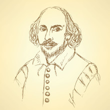 Sketch William Shakespeare Portrait In Vintage Style
