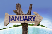 January Sign With A Beach On B...