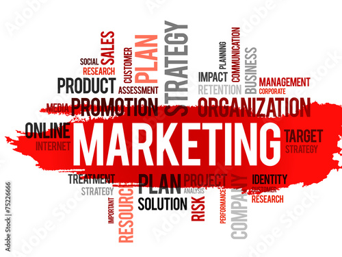 Photo  Word cloud of marketing related items, vector business concept