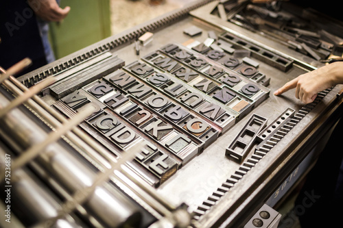 Fotografie, Obraz  Old typography printing machine