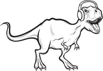 whiteboard drawing - t-rex dinosaur with headphones