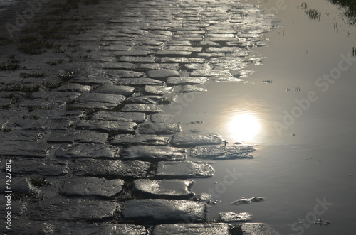 Photo cobblestone street and puddle