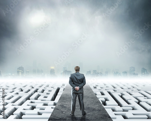Fotografie, Obraz  Businessman standing on white labyrinth