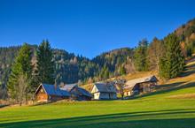 Mountain Village In Autumn Aft...