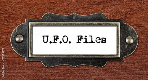 Foto op Canvas UFO ufo files - file cabinet label