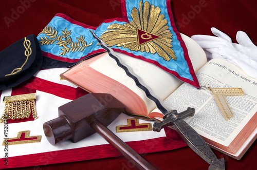 Photo  freemasonry symbolic objects of Worshipful MasteR