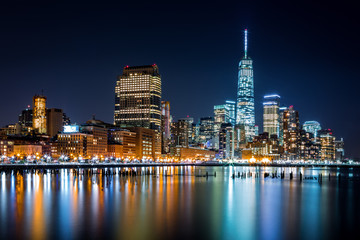 Obraz na SzkleLower Manhattan by night