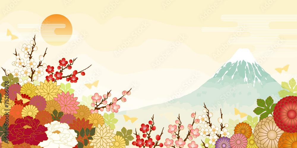 富士山と日の出と満開の花