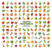 The Collection Of Icons On Fruits And Vegetables. Fresh Food