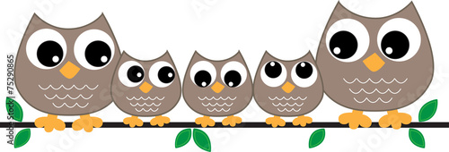 Poster Uilen cartoon owl family