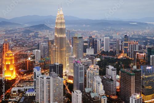 Aerial view of Kuala Lumpur at nightfall Poster
