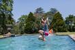 Girls Jumping Pool