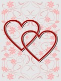 Valentine day background with hearts and flower patterns