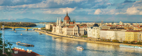 Panoramic overview of Budapest Canvas Print