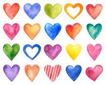 Vector Watercolor Hearts, Vale...
