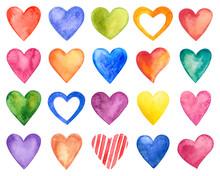 Vector Watercolor Hearts, Valentine Day.