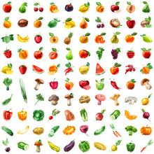 Food. Fruit And Vegetables Ico...