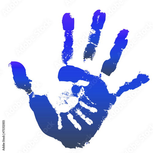 Staande foto Kids Conceptual mother and child hand print isolated