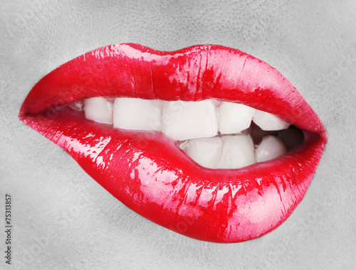 Beautiful make up of glamour red gloss lips Wall mural
