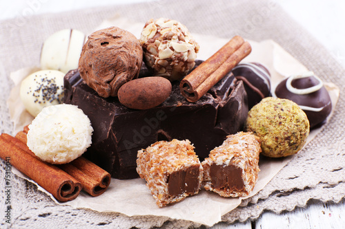 Staande foto Zuivelproducten Pile of chunk of chocolate and truffles with cinnamon stick