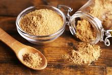 Ground Mustard In Glass Jar An...