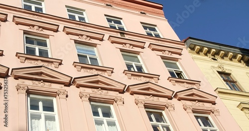 Foto op Aluminium Oude gebouw facade of an ancient building with large Windows